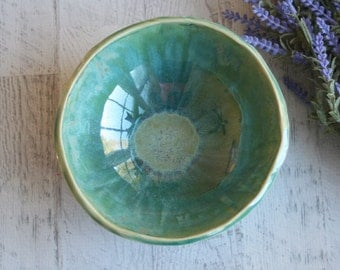 Rustic Stoneware Bowl with Leaf Motif in Shimering Green Glaze Stoneware Ceramic Pottery Bowl Ready to Ship Made in USA