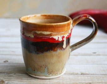 Stoneware Pottery Mug with Artful Melting Dripping Earthy Gold and Brown Glazes Handmade Coffee Cup Made in USA