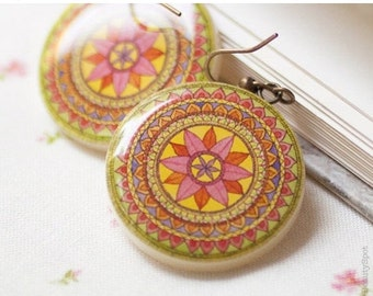 Mandala Ethnic earrings - Tribal jewelry - Tribal earrings (E030)