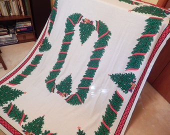 vintage Christmas tablecloth, Christmas with children, table linens, oblong 84 x 62 inches, Christmas home decor