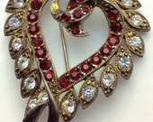 "Heart pin brooch red pendant emstones and rhinestones vintage estate sale 2"" x 1.5"""