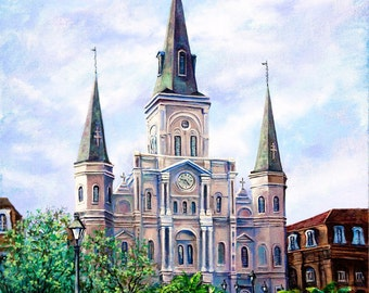St Louis Cathedral, Jackson Square, New Orleans French Quarter Cathedral, New Orleans Wedding Art Gift, Impressionism- 'St. Louis Cathedral'