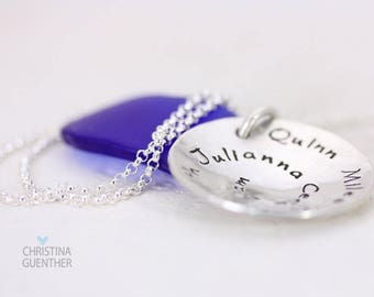 Personalized Hand Stamped Mommy Necklace / Names Necklace / Gift For Mom Grandmother Daughter Niece / Family Names by Christina Guenther