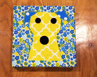 Happy Dog - Blue and Yellow - Nursery Wall Art - Toddler Room Wall Art - Fabric Canvas Print - In Stock Ready to Ship
