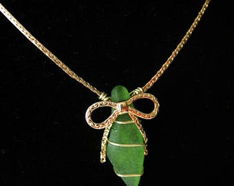 Lime Green Sea Glass Pendant and  Necklace