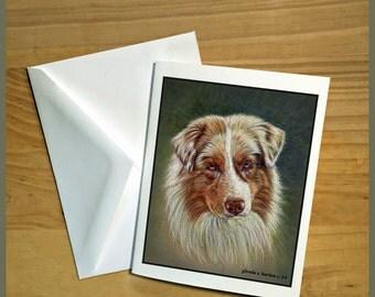 Red Merle Australian Shepherd Fine Art Note Cards