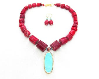 Chunky Red Coral Necklace with Oval Turquoise Pendant and Matching Earrings