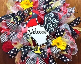 SALE - Rooster - Welcome Door Wreath
