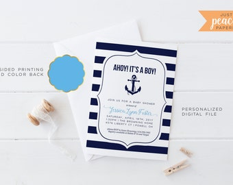 BABY SHOWER invitation | ahoy! its a boy | nautical | anchor | navy | stripe | personalized | print at home