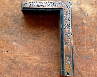 Antique copper on wood PRINTERS BLOCK - Snow skiing, sledding, volley ball, tennis