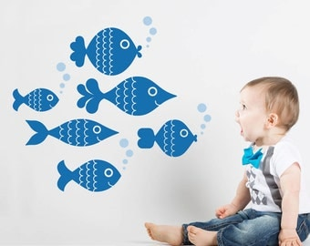 Ocean Big Fish Wall Decal Stickers, Kids Underwater Sea Life Room Decor Under the Sea Aquarium Cute Fish Baby Nursery Nautical: SWIM RIGHT