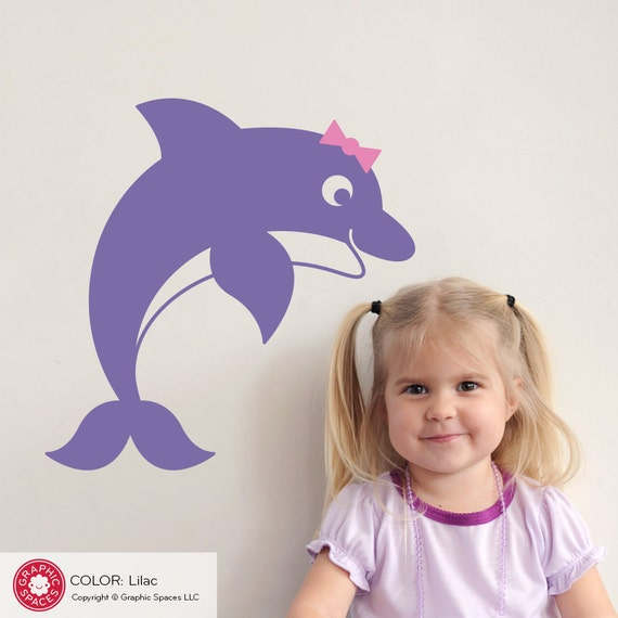 Dolphin Wall Decal Kids Underwater Room Decor Nautical Ocean Nursery Theme Cute Jumping Dolphin
