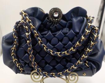 High Fashion and gorgeous Vintage Purse - Handbag - Navy Blue -