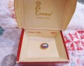 Vintage Emmons Fortune Teller Tie Tack Blue Carnival Glass Original Box