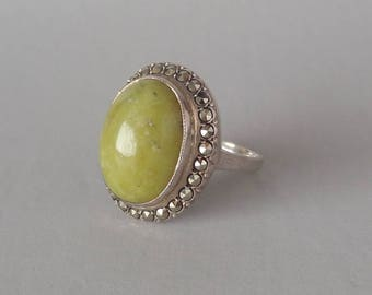 Sterling Connemara Marble Marcasite Ring. Big Irish Silver.