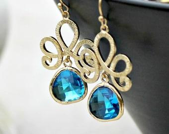 Gold Chandelier Earrings, Capri Blue, Bohemian, Wedding Jewelry