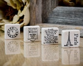 Europe Paris French Stone Magnet Set of Four