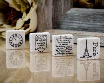 Europe Paris French Stone Magnet Set of Four