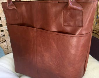 Brown Leather Tote Bag Purse With plenty of pockets! brown leather bag handmade leather tote