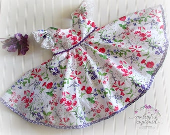 Girl Easter dress in red purple print with tulle undeskirt