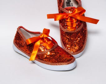 Tiny Sequin - Full Starlight CVO Orange Canvas Sneakers Tennis Sneakers Shoes with Satin Ribbon Laces