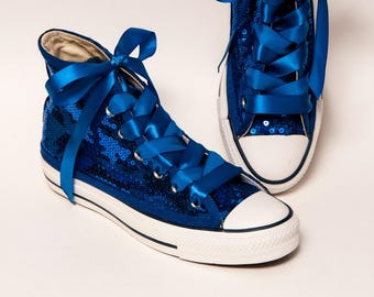 Sequin - Full Sapphire Blue Canvas Hi Top Sneakers Tennis Shoes with Satin Ribbon Shoelaces