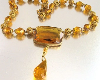 Czech Glass Art Deco Necklace Amber Bead Necklace Gold Filigree Vintage 1920s Art Deco Jewelry Antique Jewelry