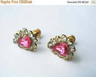 SALE Pink Rhinestone Earrings 12K Gold Filled Screw Back Circa 1950