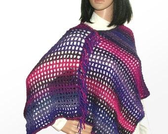 Crochet Poncho, Purple & Pink  Poncho, Women's Crochet Poncho, women's boho poncho, light-weight poncho