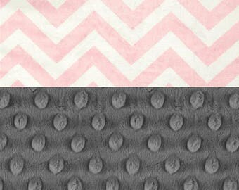 Pink Chevron Baby Blanket / Minky Baby Blanket Girl, Pink Chevron Personalized Minky Blanket - Nursery Decor Girl / Chevron Baby Blanket