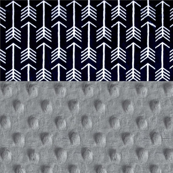 Arrow Blanket Lovey Personalized Baby Mini Blanket Boy - Baby Lovey Minky Blanket, Silver Gray Arrow Navy Blue Blanket // Baby Shower Gift