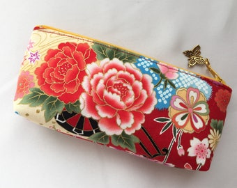 Peony & Sakura Zipper Pouch/ Eyeglass Case