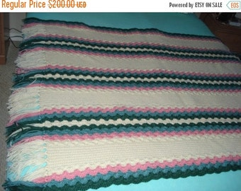 Holiday Sales 10% Off Brand New Ready to be shipped Today, Handmade Crochet Pastel Color Afghan Throw Over-Blanket, Football Blanket