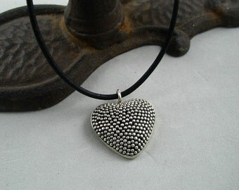 Large Beaded Sterling Silver Heart on Black Leather