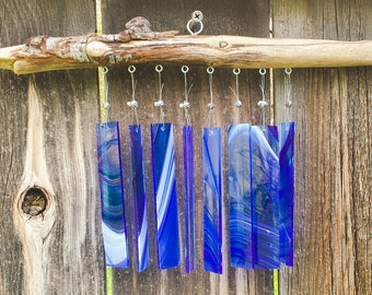Blue with Wisps of White - Glass & Driftwood Chime