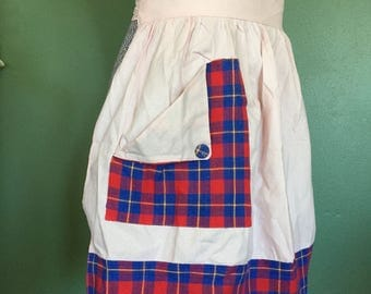 Vintage Pink Half Apron with Large Pocket and Plaid Accents - Retro Hostess
