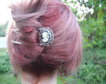 Cameo Hair Fork - Custom Made to Order-  hair accessories, metal hair comb, hair stick, u pin, woman