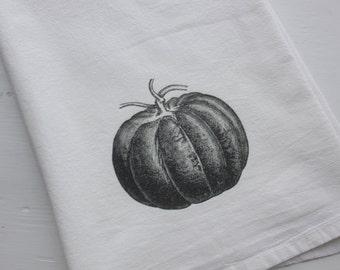 Vintage Pumpkin Flour Sack Towels - Farmhouse Tea Towels