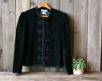 Black Velvet Jacket With Knot Cord Button Bryan Connelly Petite Small Vintage From Nowvintage on Etsy