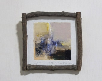 June 10, 2016 - Framed Original Abstract Oil Painting - 9x9 painting (app. 9 cm x 9 cm) with original frame