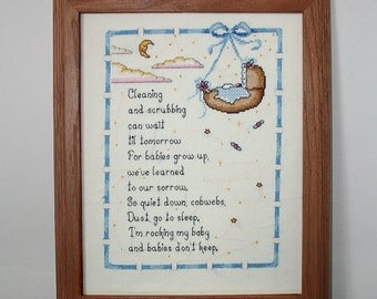 Framed Baby Sampler, Finished Completed Cross Stitch, Baby's Room Decor, Completed Needlework, Baby Shower Gift, New Baby Gift, Nursery Wall