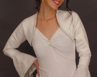 Satin bolero jacket wedding bridal shrug trimmed bell sleeve coat SBAA AVAILABLE in white and 2 other colors. Small through plus size!