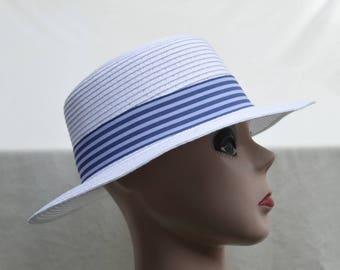 Boater Hat / White Straw Boater Hat / Vintage Inspired Straw Boater Hat /  Summer Straw Hat / Retro Style Boating Hat