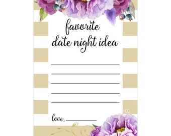 Digital Printable Favorite Date Night Bridal Shower Game with Purple Flowers on Gold DN002
