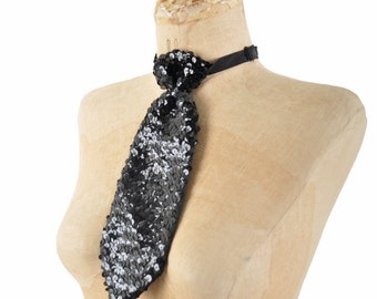 vintage black sequin tie / shiny black neck tie