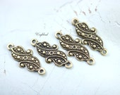 Baroque Style Antiqued Brass Connectors Links Stampings - 6
