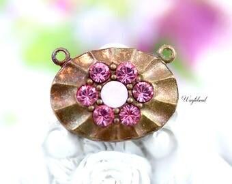 Light Pink & Rose Water Opal 2 Loops Oval Swarovski Rhinestone Brass Necklace Pendant - 1