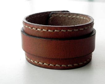 Tan Leather Cuff Leather Bracelet Leather Bangle Hand Stitched with snap button