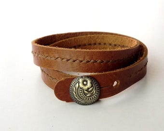 Leather Bracelet Wrap Leather Bracelet with Metal Alloy Button Hand Stitched in Tan Color