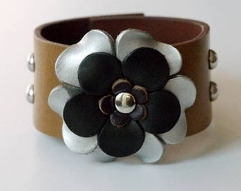 Flower Bracelet Leather Flower Cuff Flower Bangle Flower Leather Cuff Caramel Color